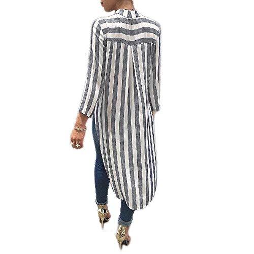 Elgante V Longue Tunique Oversize Femme Dsinvolte Rayures Tops Grau Devant Mode Manches Shirt Asymtrique Large Longues en Irrgulier Court Blouse Unique Col Profond Basic Chemisier Vetement qT7xx1f05