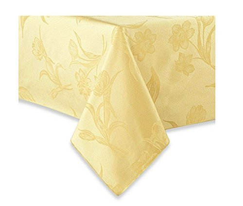Spring Blossoms Butter Yellow Fabric Tablecloth Rectangle/