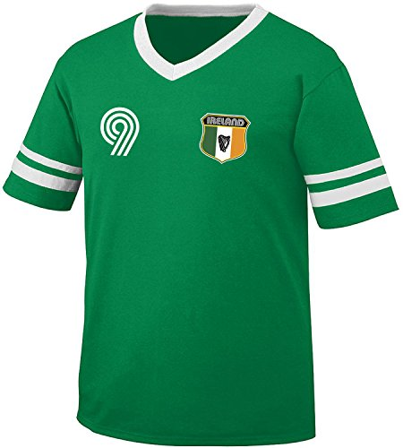 Ireland Soccer Style Crest and Number Men's Retro - Soccer Tshirts For Men
