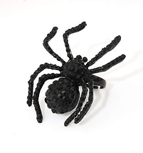 (ISALOE Black Spider Rings Halloween Toys Adjustable Metal Crystal Spider Rings for Women Mens (7))
