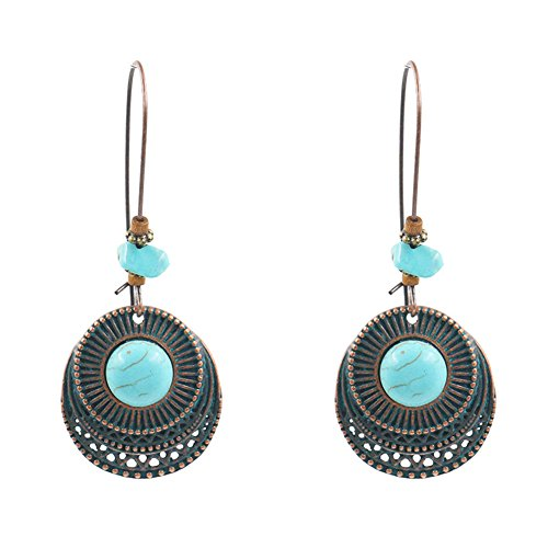 (1 Pair Women Faux Turquoise Round Long Ear Stud Earring Jewelry (1)