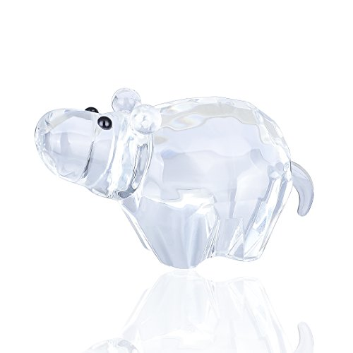 H&D Crystal Hippopotamus Figurines Collectibles Mini Glass Animal Figurine for Table Home Decoration