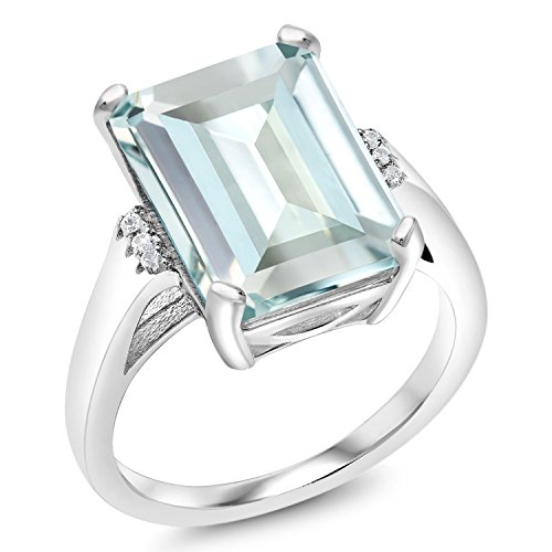 Gem Stone King 6.71 Ct Emerald Cut Sky Blue Simulated Aquamarine 925 Sterling Silver Women's Ring (Available in size 5, 6, 7, 8, 9)