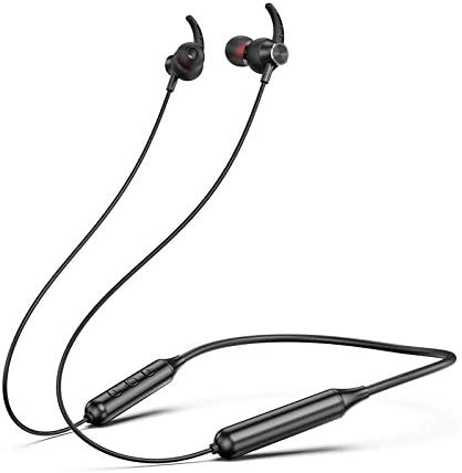 Bluetooth V5.0 Soft&Hard Necklace Sport Earphone Playing Music, Answer The Calling in Run,Walk,Climb,Gym,Reading (Soft Cable, Black)