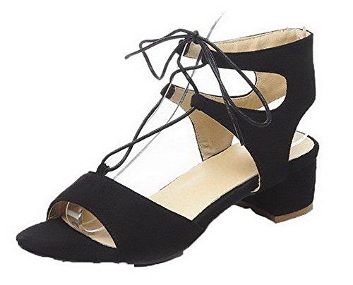 Ouverture Noir Talon à Lacet Correct Sandales Femme Unie AgooLar Couleur GMBLA012704 d'orteil PwI01Uq