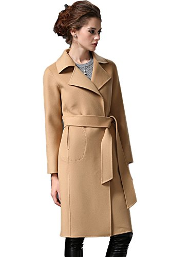 Queenshiny New Style Women's 100% Real Double Sided Wool Coat with Lapel Collar-Camel-M(8-10) by Queenshiny