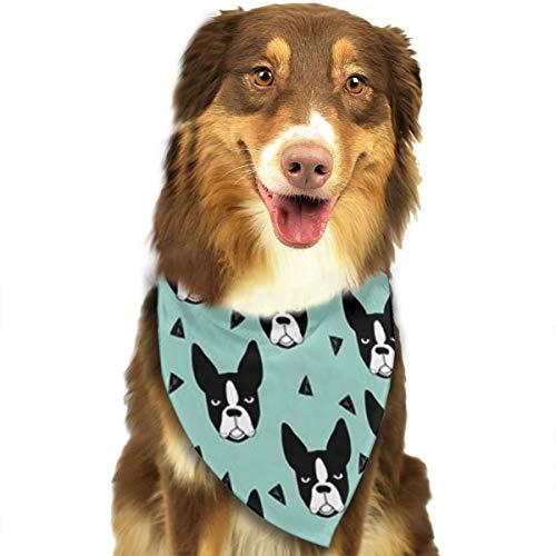 ZZJIAK Dog Bandana Scarf Boston Terriers Cute Triangle Bibs Printing Kerchief Set Accessories Dogs Cats Pets -