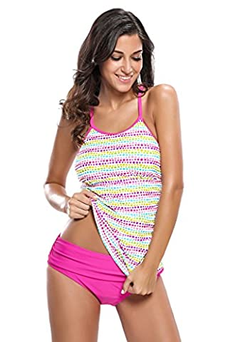 Aleumdr Womens 2pcs Tankini Swimsuits Triangle Briefs Yoga Line Spot Large - Monster Racing Jersey