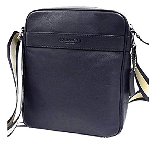 Coach Mens Flight Bag Smith Leather Crossbody Bag F54782 Midnight (Coach Duffle Shoulder Bag In Glovetanned Leather)