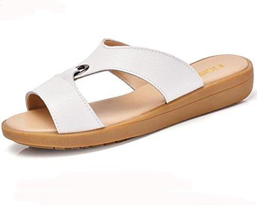 KUKI Damen Sandalen lässig mit flachen Sandalen white