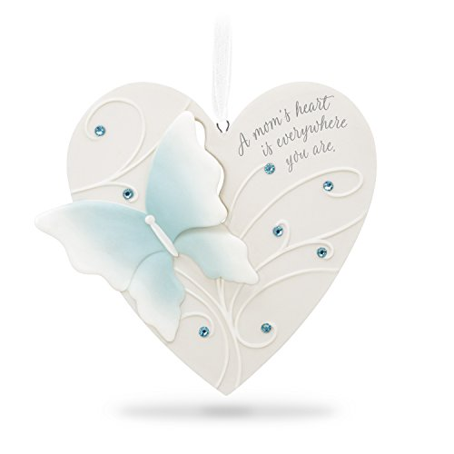 Hallmark Keepsake 2018 Mom Thanks Mother Heart Butterfly Porcelain Year-Dated Christmas Ornament - Heart Tree Decorations