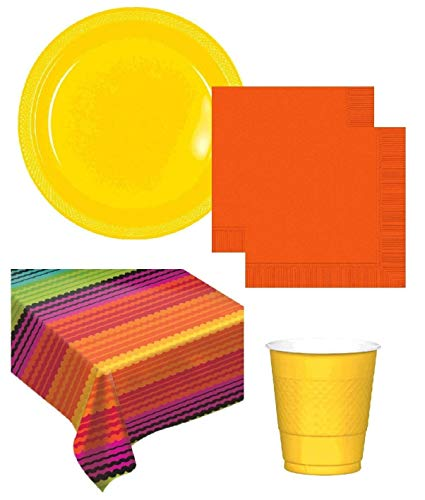 Tableware Theme (Fiesta Party Supplies Cinco De Mayo Theme Tableware Including Flannel Backed Vinyl Table cover Large Plastic Plates Napkins Cups for 20 Guests)