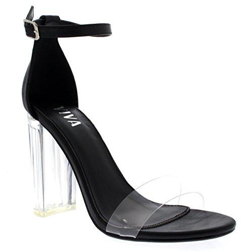 Negro De Mujer Noche Tobillo Tacón Fiesta Sandalias Correa Zapatos Tacones Altos Cristal Viva qgUx7g