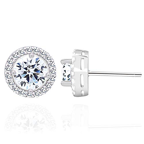 Cupid White Gold Ring - Rhodium Plated Sterling Silver Cubic Zirconia Classic Halo Round Brilliant Cut Stud Earrings Main Stone 6mm