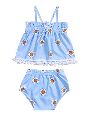 Baby Girls Summer Outfits Floral Printed Sling Top+Short Pant 2Pcs Swimsuit Clothes Set 12-18 Months Blue