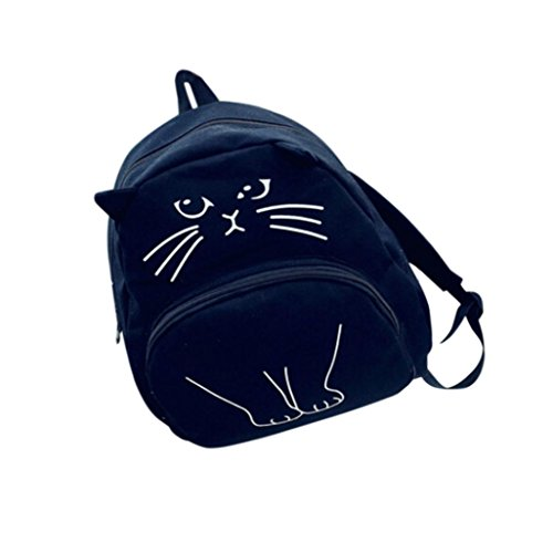 Backpack School Bags, Rakkiss Women Canvas Ladies Casual Bookbags Lovely Cat Printing Animals Pattern Shoulder Bag Black (Fendi Black Bag Spy)