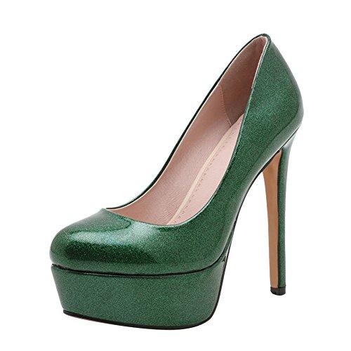 9b3734c0301d Mee Shoes Damen high heels Plateau Geschlossen Pumps Grün - porta ...