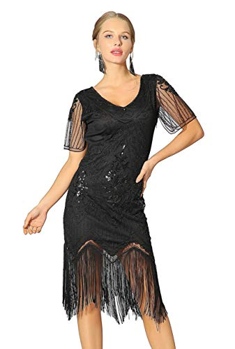 Radtengle Women's 1920s Flapper Dress Beaded Fringed Gatsby Dress with Short Sleeves for Roaring 20s Party - Fringe Sleeve