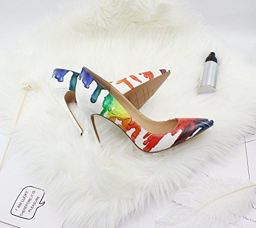 Ruanlei@Sexy de Tacones Altos/Clásicas Tacones Altos/fashion - Cerrado Mujer/Tacones de Charol ElegantesGraffiti elegante y versátil de alto talón zapatos mujer Color paint