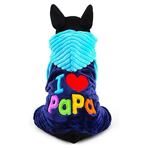 WAEEUSD I Love Papa Mama Pattern Pets Pups Cats Sweet Hooded Coat Winter Keep Warm Suit ()
