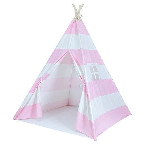 A Mustard Seed Toys Striped Pink Kids Teepee Tent, Perfect for Girls, Portable Canvas Tent, No Extra Chemials, Includes Carrying Case -