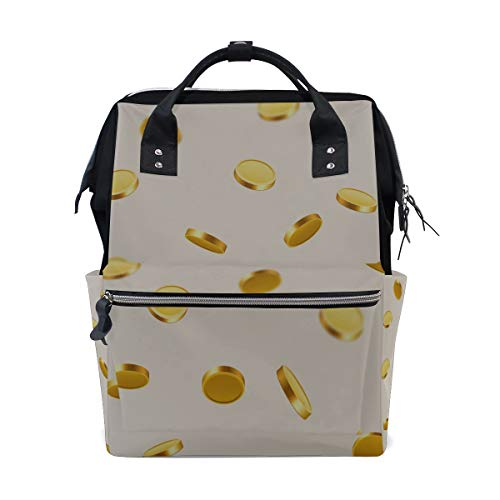 Money Flying Golden Coins Large Capacity Diaper Bags Mummy Backpack Multi Functions Nappy Nursing Bag Tote Handbag for Children Baby Care Travel Daily Women