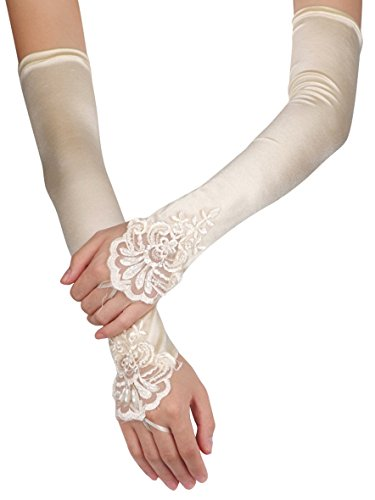 Aivtalk Fingerless Lace Gloves for Wedding Evening Party Champagne