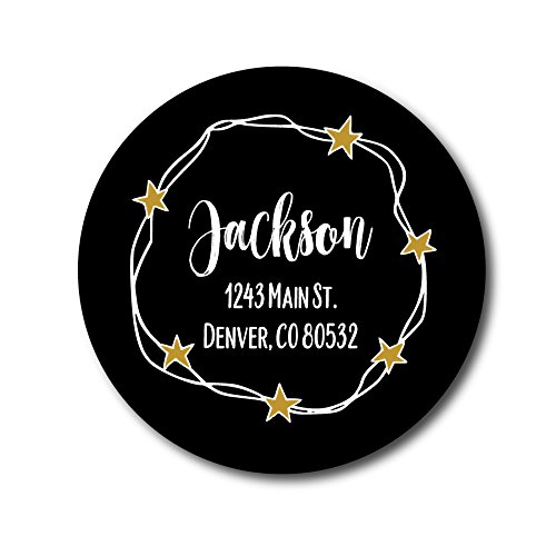 Return Address Labels - Black and Gold Stars ()