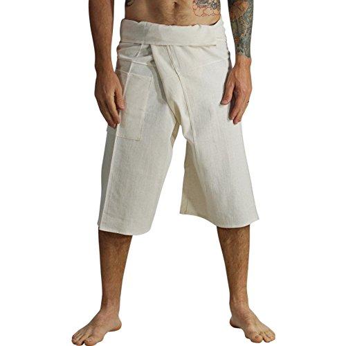 zootzu Short Thai Fisherman Pants Yoga, Martial Arts Medieval Pants - Natural/Cream