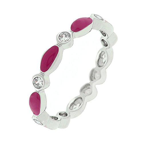 - J Goodin Fashion Jewelry Fuchsia Link Enamel Stacker Ring Size 10