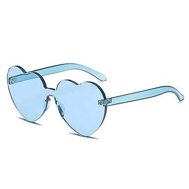 Wang-RX Las gafas de sol sin montura del corazón de verano ...