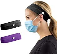 CY2SIDE 2pcs Button Headband Facemask Holder for Nurses Doctors, 7.8x2.5 inch Stretchy Headband for Adults, He