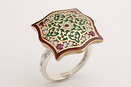 Motif Style Turkish Handmade All Authentic Jewelry Red Enamel Round Cut Ruby Topaz 925 Sterling Silver Ring Size ()