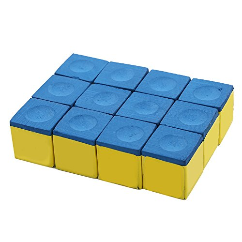Box of 12 Cubes of Pool Cue/Billiard Chalk Billiard Accessories for Snooker Pool Blue Green(Blue) by VGEBY