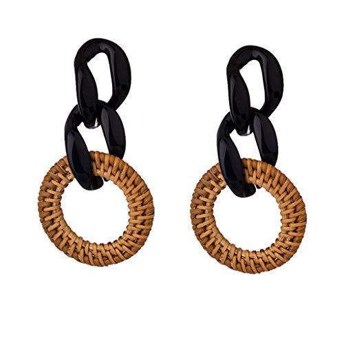 Acrylic Earrings Statement, Haluoo Rattan Hoop Earrings Woven Handmade Weaving Braid Straw Circle Drop Earrings Acrylic Resin Criss Cross Chain Earrings Fashion Jewelry for Women Girls (Black)