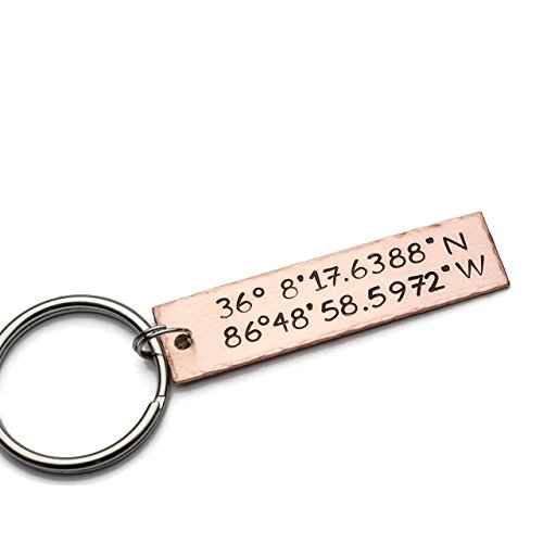 Custom Keychain Hand Stamped with GPS Coordinates and Personalized Message, Brass Copper or Aluminum Handmade Gift by Jessie Girl Jewelry