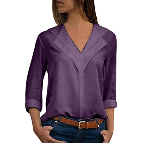 WOCACHI Christmas Womens Office Ladies Plain Roll Sleeve Chiffon Solid Shirt Blouse Tops Big Tops for Women Shirts Ladies Womens Blouses Clothes ()