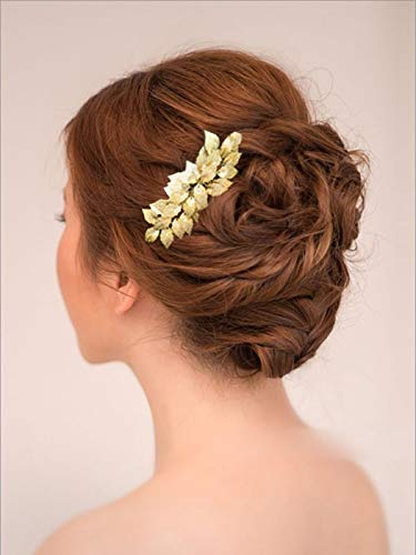 Leaf Comb - Yean Bride Wedding Hair Comb Leaves Bridal Hair Comb Accessories for Bride and Bridesmaid (Gold)