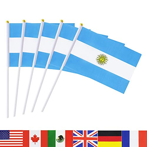 TSMD Argentina Stick Flag, 50 Pack Hand Held Small Argentine National Flags On Stick,International World Country Stick Flags Banners,Party Decorations for World Cup,Sports Clubs,Festival Events