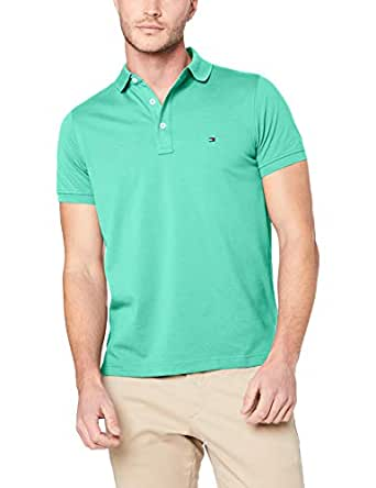 Tommy Hilfiger Men's Slim Fit Polo Shirt, Mint Leaf, Small