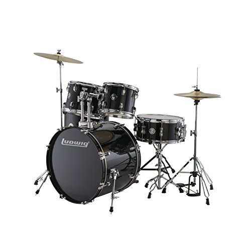Ludwig Accent Drive Black 5-Piece Drum Set (Includes Hardware, Throne, Pedal, Cymbals, Sticks and Drum Key) ()
