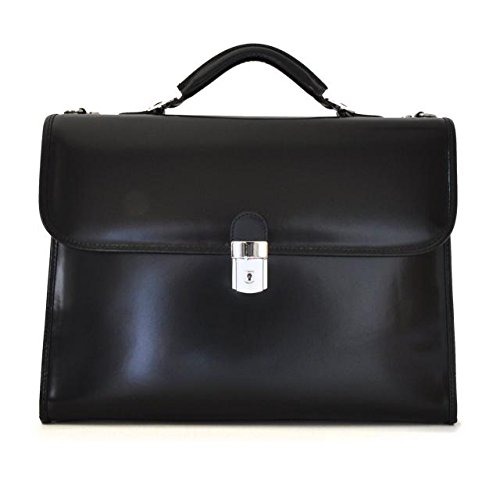 Pratesi Italian Leather Da Verrazzano Leather Laptop Briefcase, Black