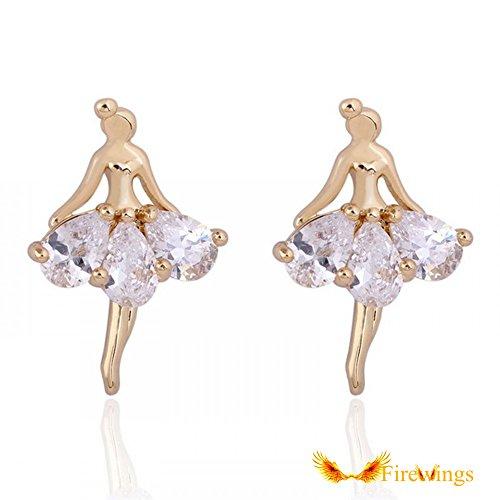 Firewing 18k Gold Plated Ballet Girl Stud Earrings White Zircon 20mmx14mm