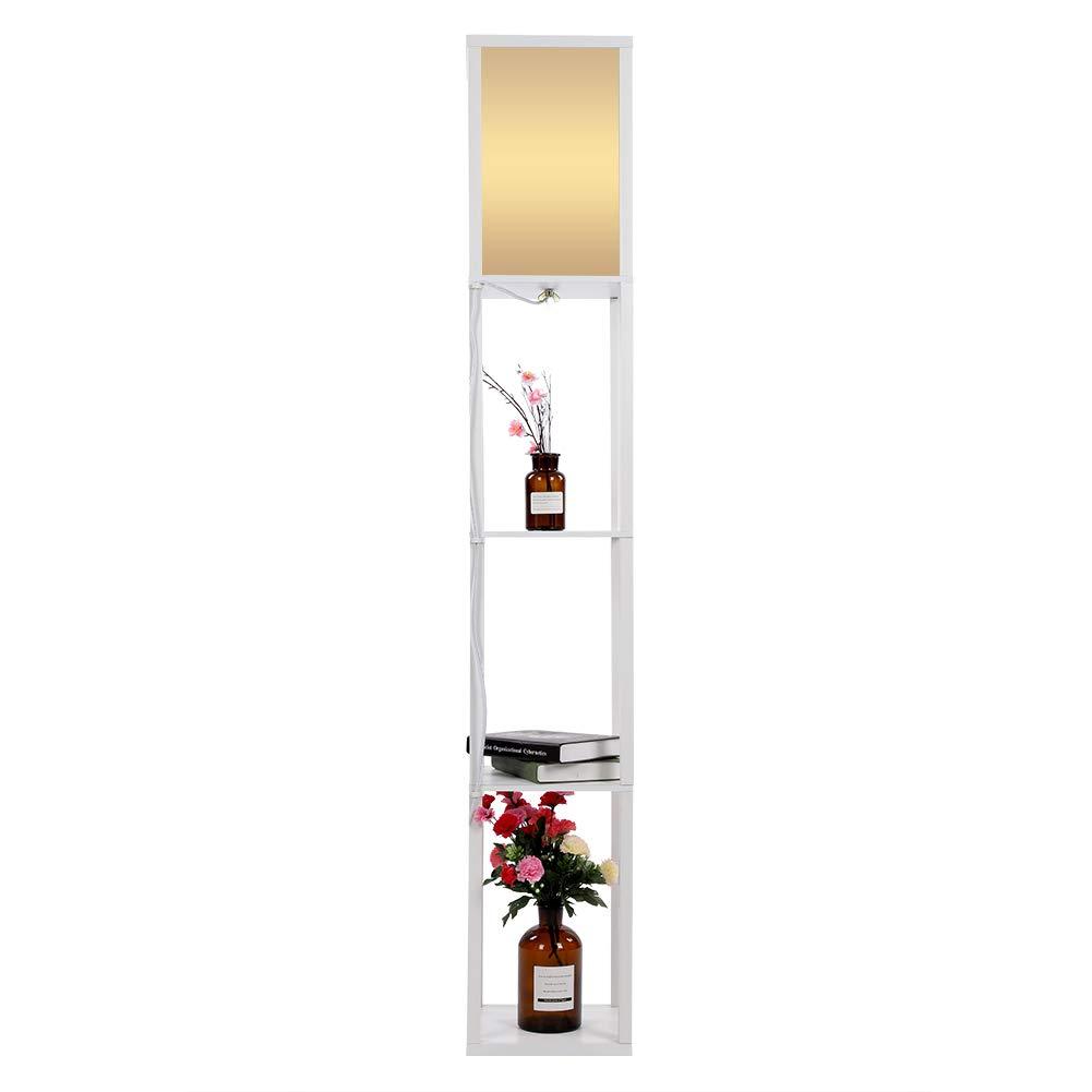 Einfarbig Retro Stehlampe, Elegante Regal Stehleuchte aus Holz, Stehlampe mit Regalen für Wohnzimmer und Schlafzimmer (Weiß)