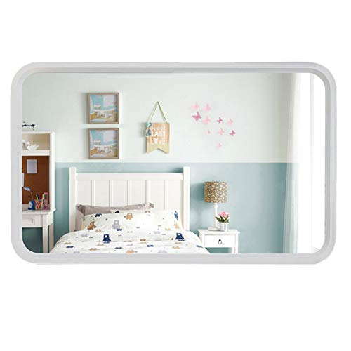 ELLENS Large Wall Mirror/Rectangular Wood Frame Mirror/Retro Home Decoration Mirror/Horizontal or Vertical -