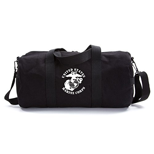 United States Marine Corps Army Sport Heavyweight Canvas Duffel Bag in Black & White, Large