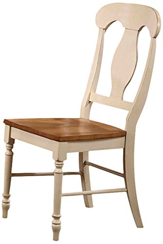 (Iconic Furniture Napoleon Dining Chair, Antiqued Caramel Biscotti Finish- SET OF 2)