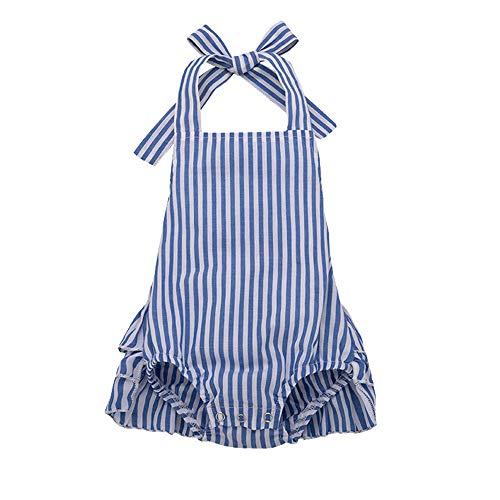 Summer Romper for Infant Baby Girls Blue Striped Halter Ruffled Bodysuit Sunsuit (Blue Striped Bodysuit, 6-12 Months)
