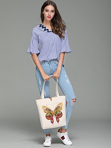 Womens Soeach Tote Handle Shoulder Top Geometry Bag Butterfly Graphic Canvas AqBpxv7