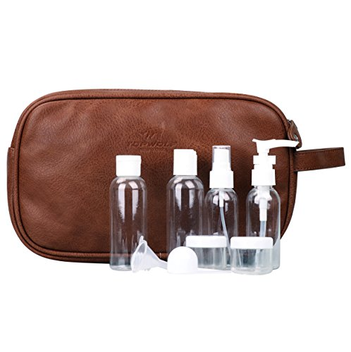 Toiletry Bag for Men TOPWOLF PU Leather Dual Zippers Travel Bag Dopp Kit Bag with Travel Bottles Gift Brown